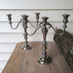 Vintage 2 Silver Candlesticks Candelabras Wedding